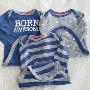 Cat & jack long sleeve baby boy bodysuit set 3-6M